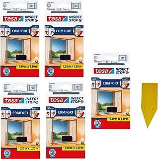 tesa Insect Stop Comfort vliegenhor voor ramen/insectenbescherming met zelfklevend klittenband/antraciet + 1 gratis gelsti...