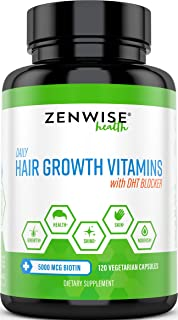 Hair Growth Vitamins Supplement - 5000 mcg Biotin & DHT Blocker Hair Loss Treatment for Men & Women - 2 Month Supply - Vitamin A & E to Stimulate Faster Regrowth + Care for Damaged Hair - 120 Pills