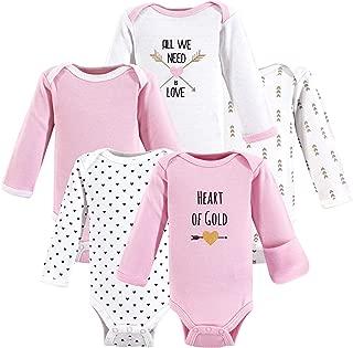 Hudson Baby Unisex Baby Cotton Preemie Bodysuits, Heart Long-Sleeve, Preemie
