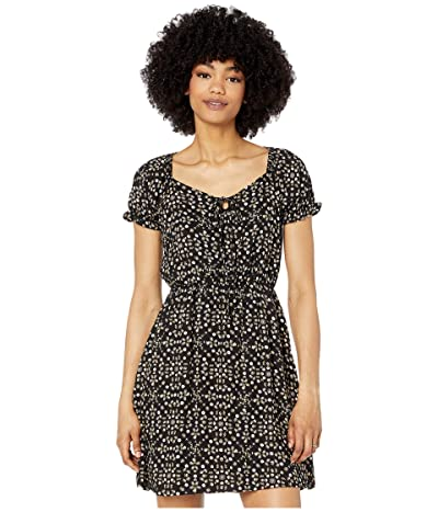 American Rose Melody Tie Front Dress with Ruffle Sleeves (Black) Women