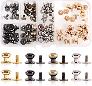 Swpeet 48Sets 4 Colors 8x10x10mm Chicago Screws Round Head Button Stud Slotted Screws Nail Rivet Leather Rivets Craft Belt...