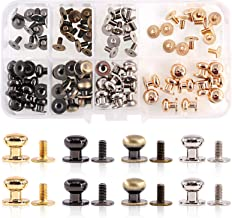 20Pcs Leather Metal Rapid Rivet Copper Round Head Button Iron Press Stud Screws for DIY Leather Bracelets Bags Craft