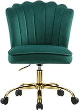 Velvet Desk Chair Accent Swivel Office Chair with Wheels Upholstered Vanity Task Chair Mid-Back Height Adjustable Modern T...