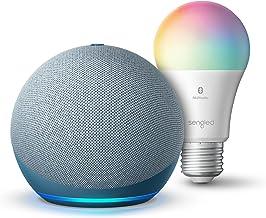Echo Dot (4th Gen) | Smart speaker with Alexa | Twilight Blue with Sengled Bluetooth Color bulb