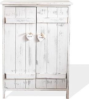 Rebecca Mobili Mesita de Noche con 2 Puertas, Mueble Auxiliar de almacenaje, 3 estantes internos, Blanco, Shabby Chic, para baño Cocina - Medidas: 70 x 51 x 30 cm (AxANxF) - Art. RE4573
