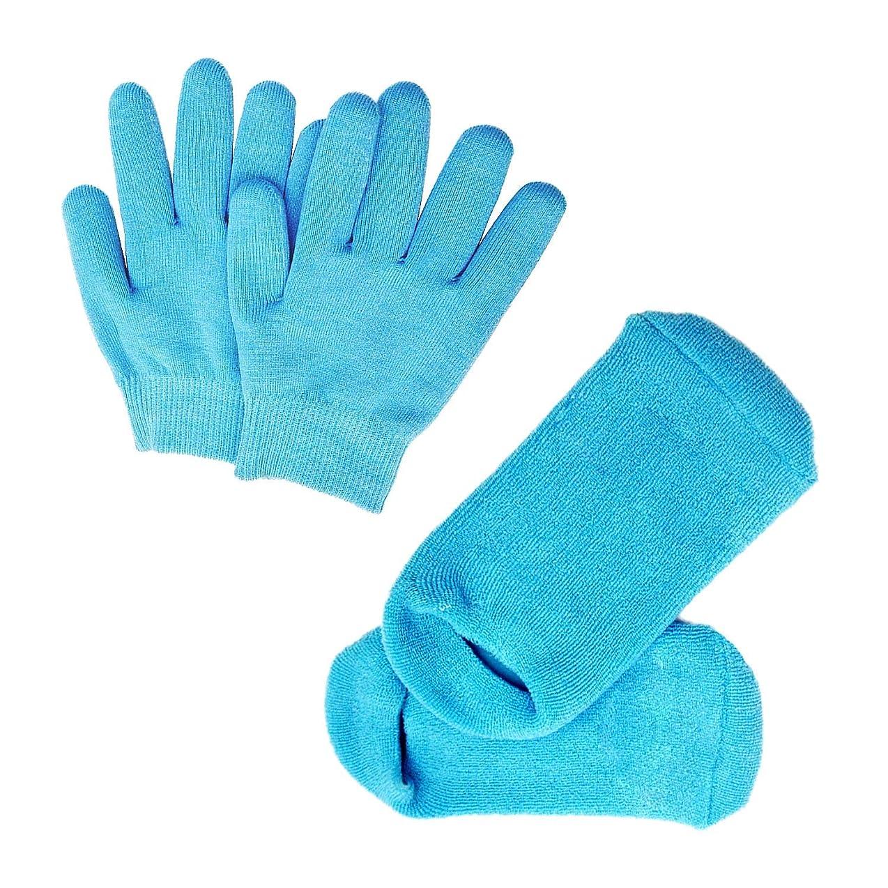誓約安息疑問を超えてPinkiou 眠る森のSPAジェルグローブ/SPAジェルソックス ハンドケアグローブ/フットケアソックス 角質取り 保湿 かかとケア オープントゥ 素肌美人 靴下と手袋 一セット スバ いいお肌になりましょう(ブルー)