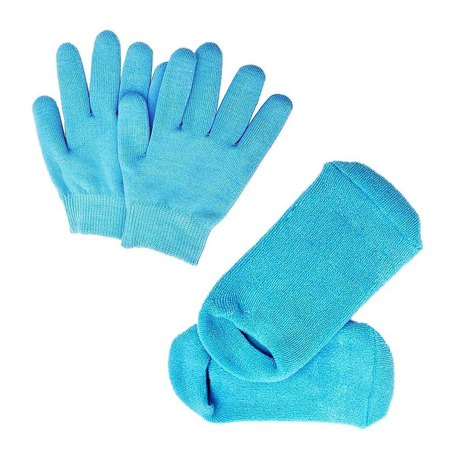羨望パーフェルビッド過敏なPinkiou 眠る森のSPAジェルグローブ/SPAジェルソックス ハンドケアグローブ/フットケアソックス 角質取り 保湿 かかとケア オープントゥ 素肌美人 靴下と手袋 一セット スバ いいお肌になりましょう(ブルー)
