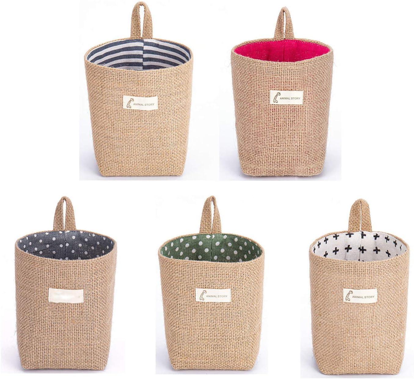 LGYKUMEG 5pcs Mini Max 90% OFF Hanging Storage Bag Linen Year-end gift Small Cotton Wall