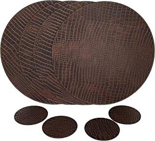 Nikalaz Set of Round Placemats and Coasters, 4 Table Mats and 4 Coasters, Place mats 12.99 inches Dining Table Set (Crocodile Style)