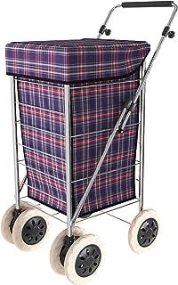 Deambulatore Medico a 2 Ruote con Sedile e Borsa per la Spesa Bastone Pieghevole a Quattro Gambe Pieghevole Carrello in Alluminio da 7 Pollici Cuscino Traspirante Regolabile