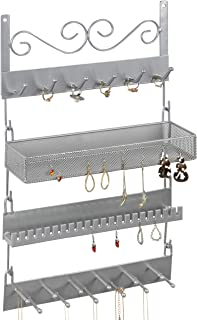 MyGift Silver Metal Wall-Mounted 4-Tier Modular Jewelry Organizer & Display Rack