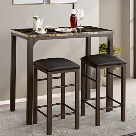 VECELO Bar Table Set with 2 Stools, 3 Pieces Rectangular Kitchen Counter with Chairs Height Pub Tabletop for Dining Living Party Room Bistro, Black
