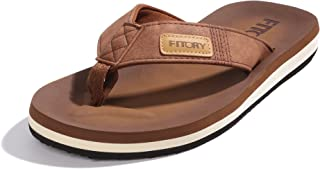 FITORY Men's Sport Flip Flops, Comfort Thong with Arch Support Shoes Summer Outdoor Sandals Brown UK Size 6-13