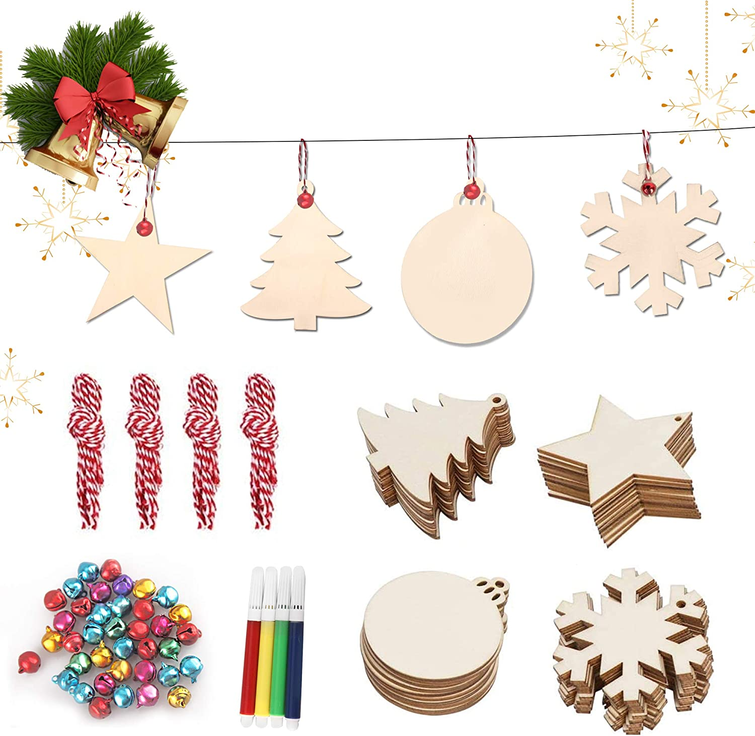 Now free shipping Originalidad 124 Pcs Wooden Christmas Unfinis - Inventory cleanup selling sale 40 Ornaments