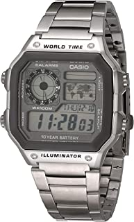 Casio Men's 10 Year Battery Quartz Watch with Stainless Steel Strap, Silver, 24.1 (Model: AE-1200WHD-7AVCF)
