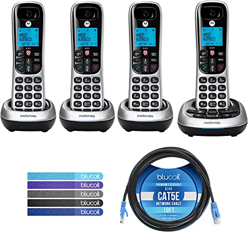 2021 Motorola CD4014 DECT 6.0 Cordless Phones with Digital Answering outlet sale Machine and Call Block (4-Pack) Bundle with Blucoil 10-FT 1 lowest Gbps Cat5e Cable, and Reusable Cable Ties (5-Pack) outlet sale