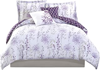 Boho Living 5 Piece Fresh Meadow Comforter Set, Full/Queen, Lilac