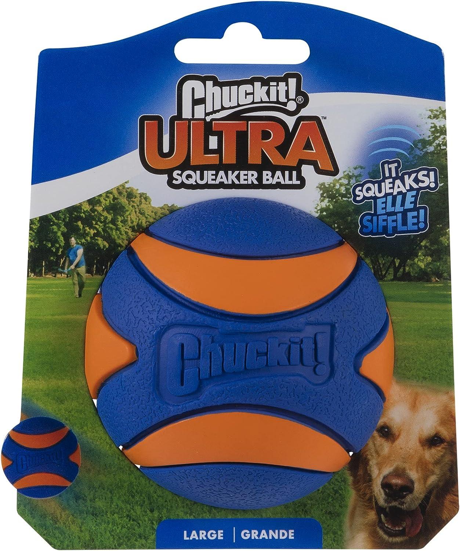 Chuckit! 52069 Ultra Squeaker Ball, 1 Pelota para Perros Compatible con el Lanzador, L
