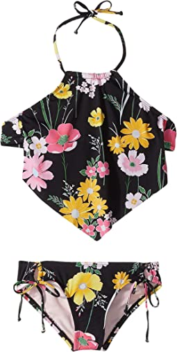 Flower Fields High Neck Scarf Tankini & Adjustable Hipster (Big Kids)