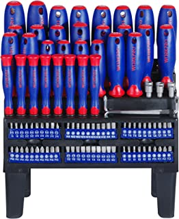 WORKPRO W000806A 100-Piece Screwdriver Set With Magnetic Tips And Bits, Storage Rack Included, Red/Blue