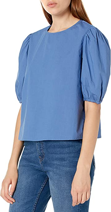 The Drop Women's Adele Loose Puff Short Sleeve Poplin Shirt
