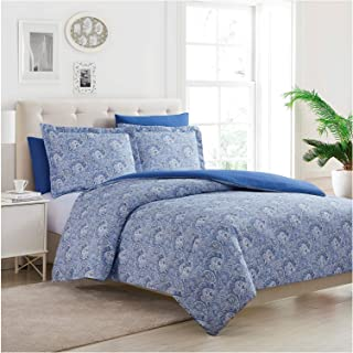 Mellanni Duvet Cover Set 5pcs - Soft Double Brushed Microfiber Bedding with 2 Shams and 2 Pillowcases - Button Closure and Corner Ties - Wrinkle, Fade, Stain Resistant (Full/Queen, Paisley Blue)
