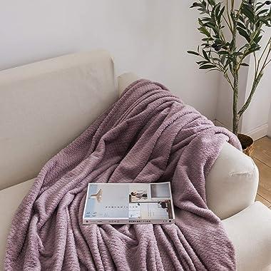 NEWCOSPLAY Super Soft Throw Blanket Premium Silky Flannel Fleece Leaves Pattern Lightweight Blanket All Season Use (888-light