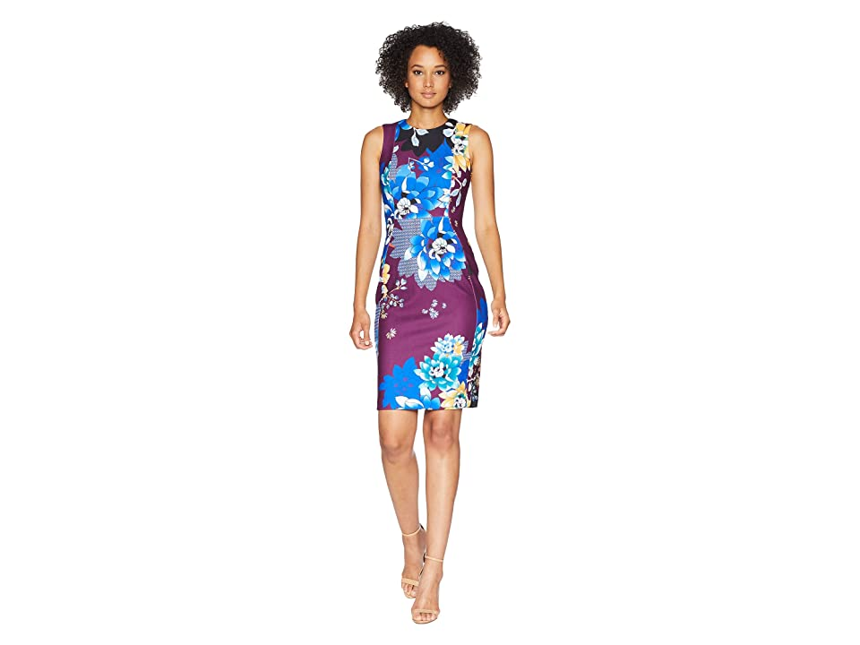 Calvin Klein Printed Sheath Dress CD8CJA00 (Aubergine Multi) Women