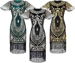 فساتين الصيف بحجم إضافي ماكسي لحفلات الزفاف لضيوف النساء مثير مخطط قصير الأكمام فستان حفلات كوكتيل (ذهبي، متوسط)