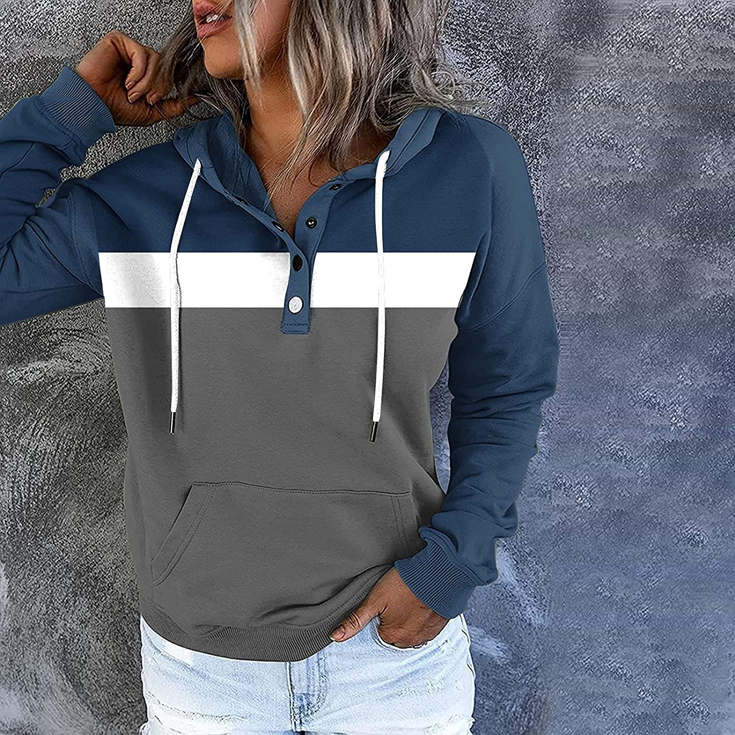 BOXIACEY Women's Hooded Pullover Fashion Stitching Buttons Sweatshirt Casual Pocket Long-Sleeved Drawstring Hoodies