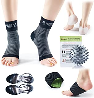 Plantar Fasciitis Pain Relief Recovery Kit - 9 PCs - Foot Compression Sleeves, Heel Protectors, Cushioned Arch Support Wraps & Inserts, Foot Massage Ball- Instruction Guide Included (S/M)