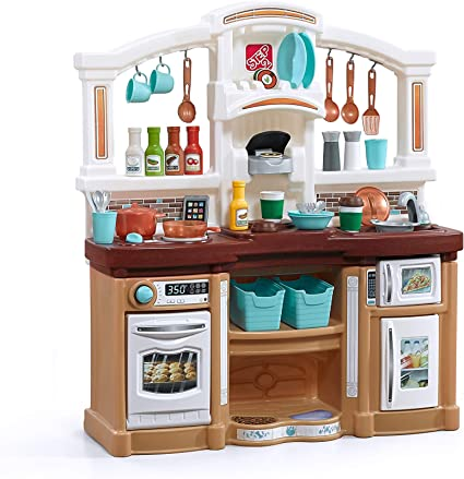 Amazon Com Step2 Fun With Friends Kitchen Large Plastic Play Kitchen With Realistic Lights Sounds Brown Kids Kitchen Playset 45 Pc Kitchen Accessories Set Toys Games