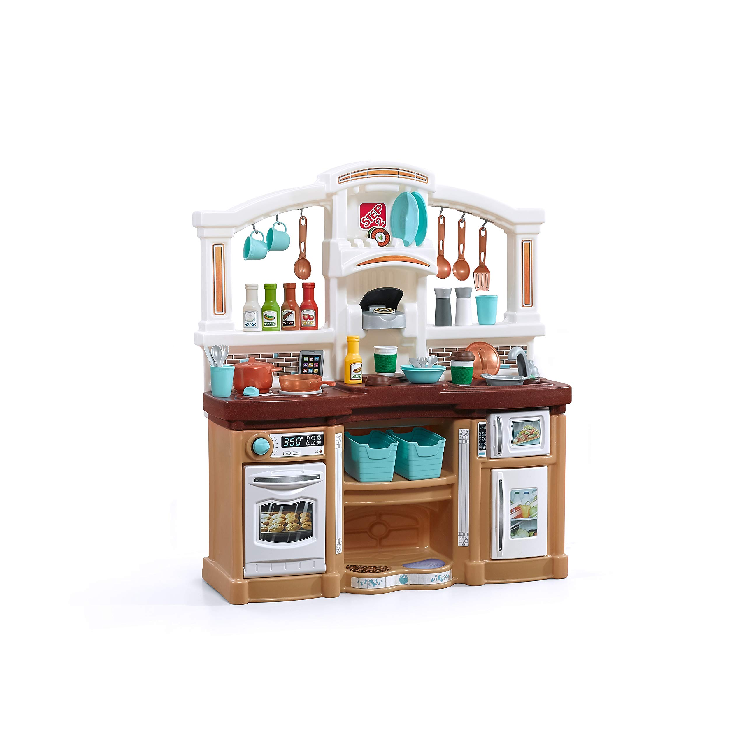 Step2 Fun with Friends Kitchen | Large Plastic Play Kitchen with Realistic Lights & Sounds | Brown Kids Kitchen Playset & ...