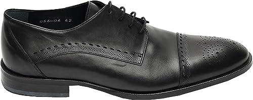MUGA 286-SW - schuhe de Cordones de Piel para Hombre schwarz schwarz