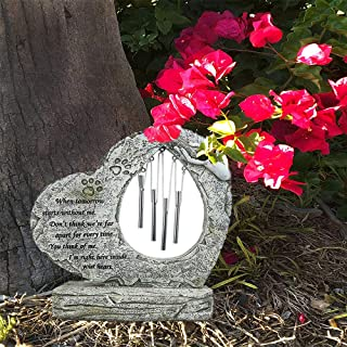 BJSM Pet Memorial Stones-Features a Heart Shaped Figurine and Wind Chimes, Indoor Outdoor for Garden Decor - Loss of Dog Gift