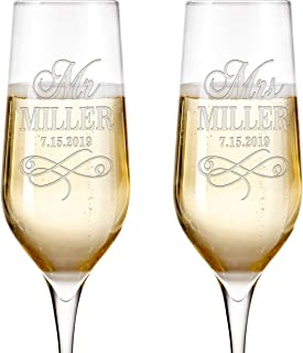 Set of 2, Personalized Mr Mrs Wedding Champagne Flutes - Bride and Groom Champagne Glasses w/ Last Name and Date, Custom Engraved Mr and Mrs Champagne Glass | Wedding Toasting Glasses #3