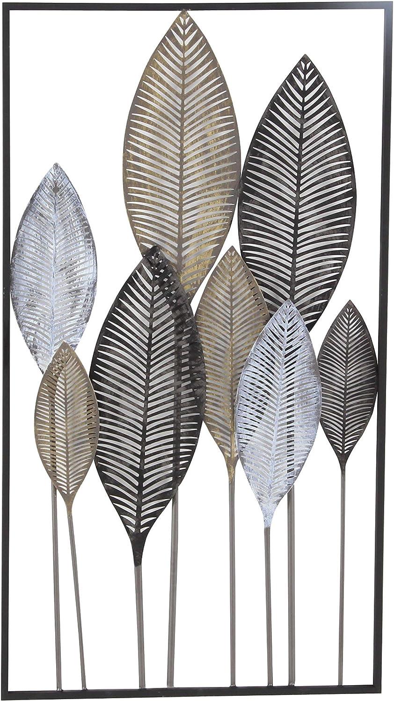 Deco 79 65649 Metal Leaf Wall Decor, 37  x 20 , Black White Brown