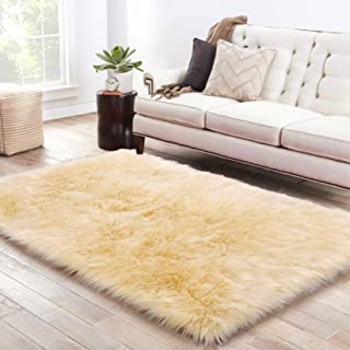 LOCHAS Soft Faux Sheepskin Fluffy Rugs for Bedroom Kids Room, High Pile Faux Fur Area Rug Bedside Floor Carpet Photography, 3x5 Feet Rectangular Light Yellow