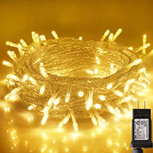 Blingstar Christmas Lights 33ft 100 LED String Lights 30V Plug in Fairy Lights Waterproof 8 Modes Warm White Fairy String Lights for Indoor Outdoor Bedroom Wedding Party Patio Christmas Tree
