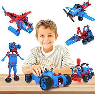 STEM Toys - 6 in 1 Kids Building Toy Set, 142 Pieces, Educational DIY Learning Construction Kit for Boys and Girls, Birthd...