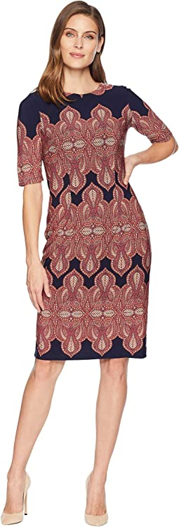 Extended Short Sleeve Printed Sheath Dress