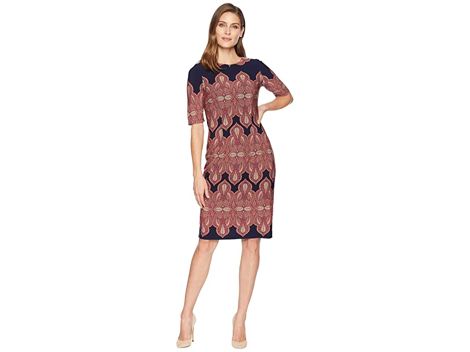 London Times Extended Short Sleeve Printed Sheath Dress (Navy/Orange) Women