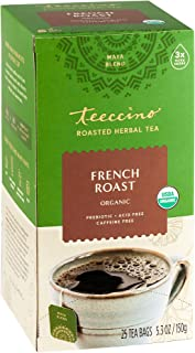 Teeccino Herbal Tea – French Roast – Roasted Chicory, Prebiotic, Caffeine Free, Acid Free, Coffee Alternative, 25 Tea Bags