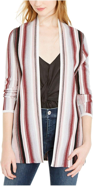 INC Womens Burgundy Striped Long Sleeve Open Cardigan Sweater Size PP