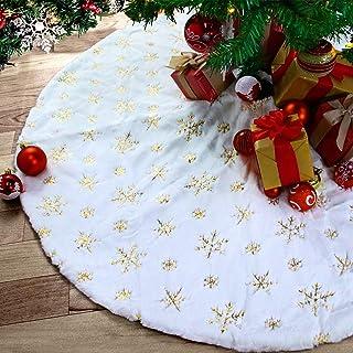 Kederwa 35 Inches Christmas Tree Skirt, Plush Luxury Faux Fur Xmas Tree Mat, Snowy Sequin Pattern Christmas Skirt for Xmas...