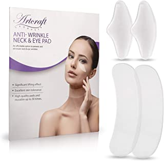 SILICONE NECK WRINKLE PAD - SET OF 2 SILICONE CARE PATCHES FOR NECK WRINKLES TREATMENT AND PREVENTION PLUS 1 SET OF EYE FACIAL WRINKLE PADS - REUSABLE ANTI WRINKLE FILLER MASK REMOVER UP TO 30 USES.