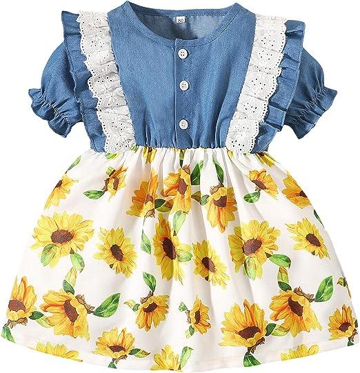 Maacie Baby Girls Short Sleeve Dress A-Line Elastic Waist Dress