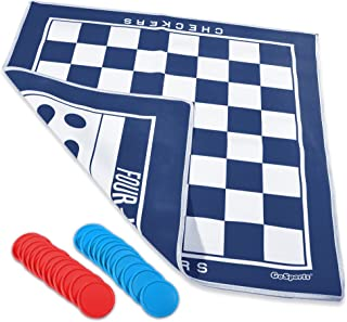 GoSports Giant Checkers & 4 Connect Board Game - HUGE Double Sided Game Mat with Coins for Family Fun
