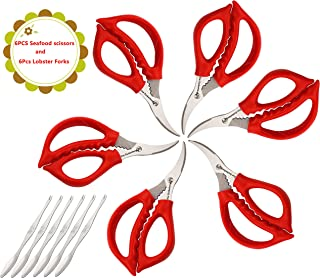 Seafood Scissors and Lobster Forks For Fish Crab Lobster Crab Lobster Scissors Set of 12 Pcs