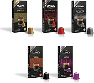 MUST 50 Cápsulas de Café en Aluminio 100% Reciclable Hasta el Infinito, Variety Pack Degustación 5 Paquete de 10 Cápsulas ...